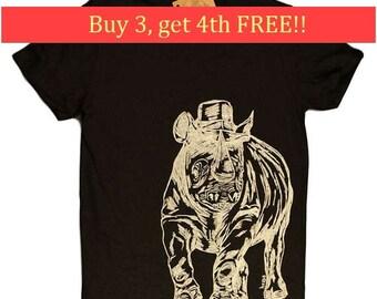 Mens T Shirt - Rhino T Shirt - Funny T Shirts - Screen Printed Tees - Graphical Tees - African Tee - Mens Brown Tee Shirts  S M L XL