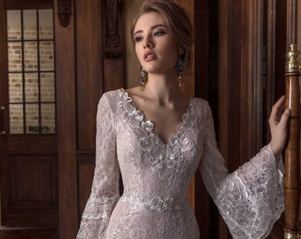 Wedding dress VILIA, Long sleeve wedding dress, simple wedding dress, beach wedding dress, wedding dress lace, bohemian wedding dress