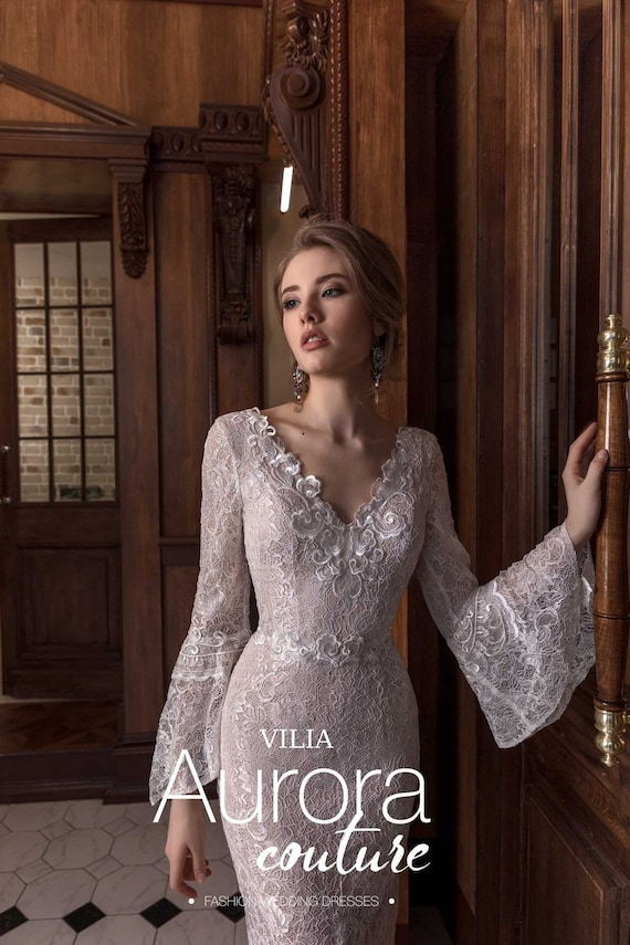 Wedding dress VILIA Long sleeve wedding dress simple wedding