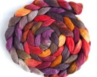 Polwarth/Silk Roving - Handpainted Spinning or Felting Fiber, Autumn Spectacular