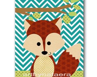 Kids wall art Fox Nursery Baby Nursery Art Decor Baby Boy Nursery Decor Kids Art Baby Room Decor Nursery Print Boy Print blue green