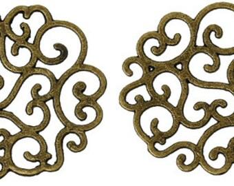 Metal Embellishment Findings Heart Flower Antique Bronze - Pack Of 4
