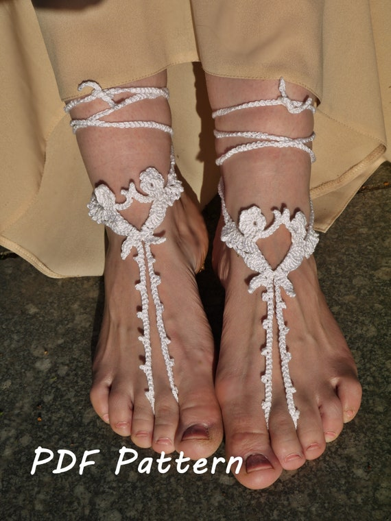 Crochet Barefoot Sandal Pattern Nude shoes Pattern Toe Thong