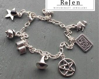 Witches Charm Bracelet Tarot Hat Book Of Shadows Pentagram Cauldron Pumpkin Star Black Onyx