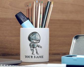 Customized Sketch Robot Children Kids Personalised, Pencil Pot, Pencil Holder, Pen Pot, Pen Holder, Gift Idea, Children Gift, PPC181