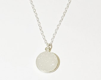 Natural white druzy round pendant necklace sterling silver necklace jewelry boho