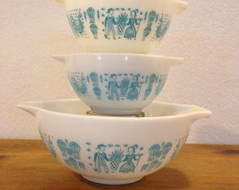 Vintage Pyrex Butterprint Cinderella Bowls 2 #441 and 1 #443
