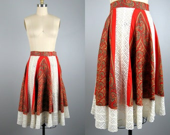 Vintage 1950s Circle Skirt 50s Paisley Cotton and White Lace Maya De Mexico Skirt Size S