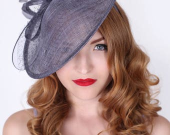 "Charcoal Gray Fascinator Hat - ""Wendy"" Wide Brimmed Fascinator Hat Headband"