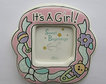 Magnetic Picture Frame, It's A Girl Picture Frame, Pink Picture Frame,Fridge Magnet Picture Frame, Baby Picture Frame,Vintage Picture Frame