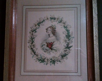 Pair of Romantic Framed Engravings, Girls Encircled with Floral Wreaths