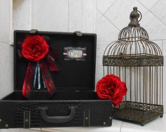 Gothic Wedding Card Holder / Victorian Card Holder / Red And Black Wedding Card Holder / Gothic Suitcase Card Holder / Wedding Decor