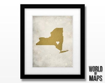 New York Map Print - Home Town Love - Personalized Art Print