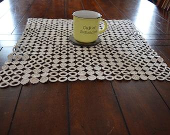 Fun circles and flower doilie antique crochet table decor