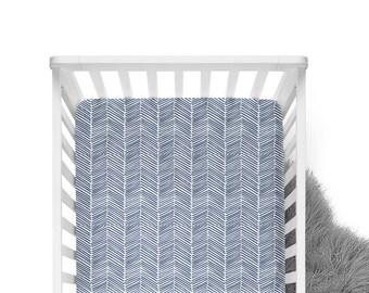 Fitted Crib Sheet Indigo Freeform Arrows - Navy Crib Sheet - Arrow Crib Sheet - Navy Arrow Crib Sheet - Arrow Baby Bedding -Minky Crib Sheet
