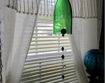 Glass Wine Bottle Wind Chime green