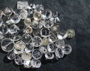 50 Clear Glass Vintage Buttons