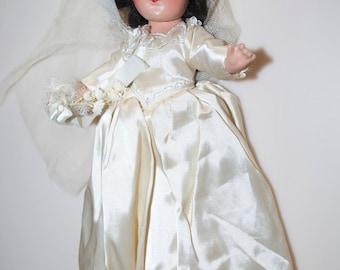 """Vintage Bride Doll Brunette 12"""""""