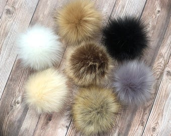 "Medium 5"" Faux Fur Pom Pom, Fake Fur Pom Pom, Medium Pom Pom for Hat or Toque, Cruelty Free Craft Supply, Pom Pom for Keychain, Attachable"