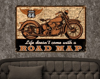 Road Map Bike, 1-3 Day SHIPPING, Free Shipping,16x24, Metal Sign,