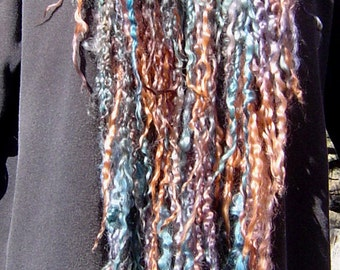 On SALE VERDIGRIS Split Rock Ranch OOAK Original Design Extreme Fringe Scarf Teeswater Tailspun Handspun Yarn