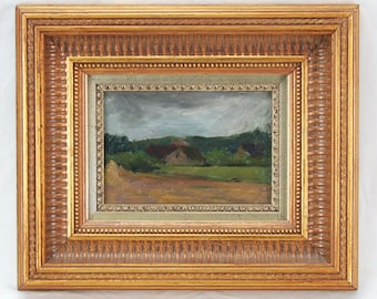 20th Century Impressionist Painting Farmhouses Under Dark Sky
