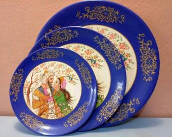 "Vintage Dinner Set, Vintage Plates, Indian Plates, Plate Set, Plates, Printed plate ""plascokar"", Limited edition, Ready for dinner, PK12"