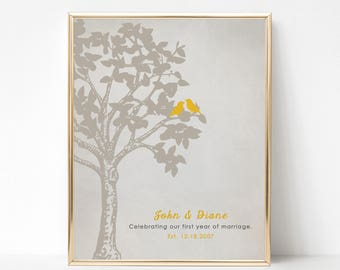 First Anniversary Gift Print - Gold Gift for Him - Gift for Her - Gift for Couple -  Personalized Birds in a Tree Print - 1st Anniversary