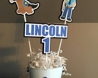 Police /Police Truck / Policeman Centerpieces - Set of 3 PLUS pail