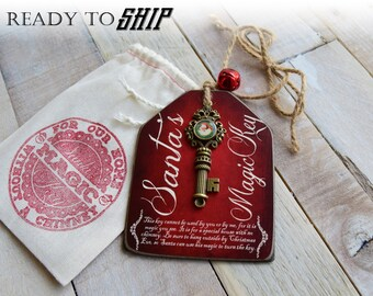 Santa's Magic Key, Wood Tag Santa Key, Christmas Key, Santa Claus Key, Santa Key for Christmas on a Wooden Tag