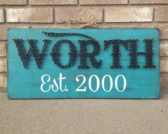 Nail and String Art Sign - Last Name Sign - Family - Year/Date established