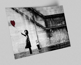 ACEO Banksy Girl With Balloon Graffiti Street Art Canvas Giclee Print