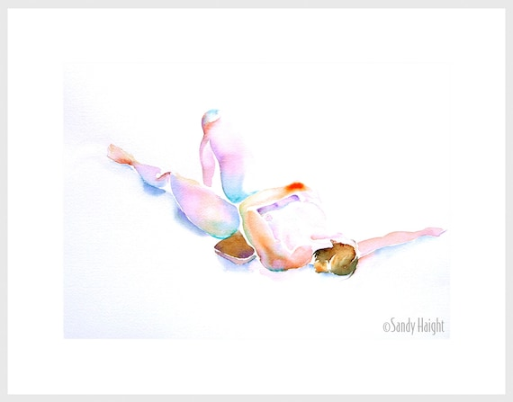 Original Watercolor Life Drawing, 25% OFF SALE! woman, nude, framed art, wall art, home decor, reclining, multi-color, female, figure, 2D