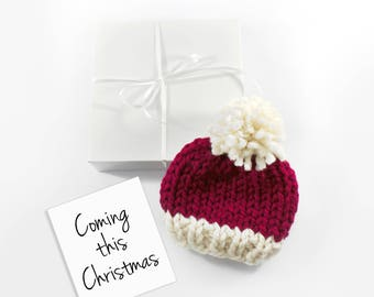 December Baby Announcement, Christmas Pregnancy, Santa Baby Hat, Grandparent Reveal
