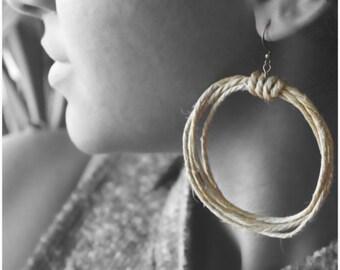Hemp Earrings, Natural Earrings, Hanging Earrings