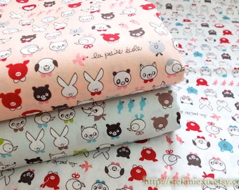 Japanese Cotton Fabric-French Style Petit Animal Friends Heads, Choose Color (Fat Quarter)