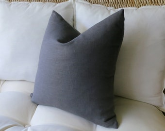 Dark Grey Linen Pillow Cover, Gray, Solid Pillow Cover, Euro Sham, Pillow Sham, Modern Pillow, 18 x 18,  20 x 20, 22 x 22, 24 x 24, 26 x 26