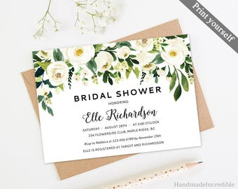 White Flower Bridal Shower Invitation Template. Printable Floral Bridal Shower Invitation. Greenery Gold Modern Calligraphy Download
