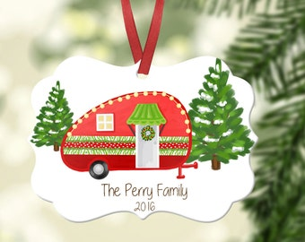 Personalized Camper Ornament~ Christmas tree ~Christmas Ornament ~Happy Camper