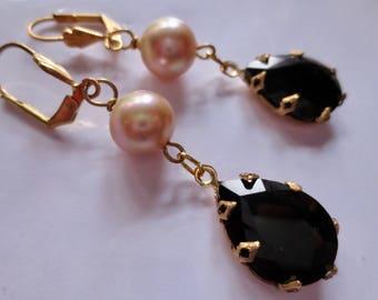 Art Deco earrings Edwardian earrings vintage style 1920s Art Nouveau earrings elegant black drop earrings pearl earrings
