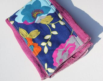 Hand Dyed Burp Cloth, Plum and Blue Floral