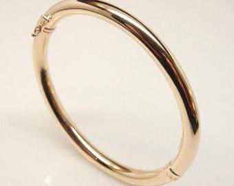 Plain hollow 14k solid gold  tube bangle bracelet 8.8g