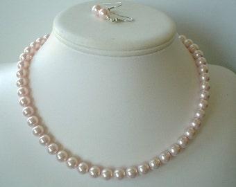 Boucle d'oreille et collier de perles Perles de Swarovski rose pâle simple brin ensemble grand mariées ou cadeaux de demoiselle d'honneur