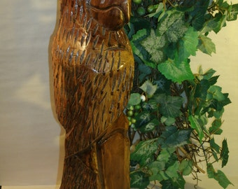 Hand Carved Wood Parrot Bird Statue  Nassau Bahamas Art Large Wooden Carving Native Island Art Tall Self Standing Natural Wood Finish