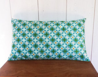 Cushion cover 50 x 30 with Mint green, turquoise, mustard stars...