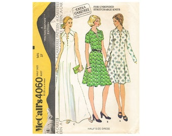 """Sewing Pattern – Pullover Dress with Collar and Buttoned Front - Vintage McCalls 4060 UNCUT Sewing Pattern – Half Size 14 1/2 Bust 37"""""""