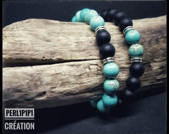 """Set Simply the """"Black & Blue"""" Onyx Beads turquoise"""