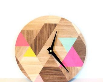 Geometric Wall Clock,  Faux Wood Grain,  Home and Living, Home Decor, Decor and Housewares