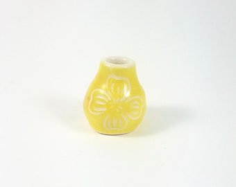 Tiny Yellow Bud Vase with Dogwood Design, Handmade Ceramic Vase with Flower Pattern