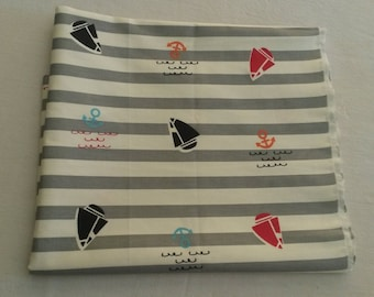 Striped cotton fabric / patterns, anchors and sailboats
